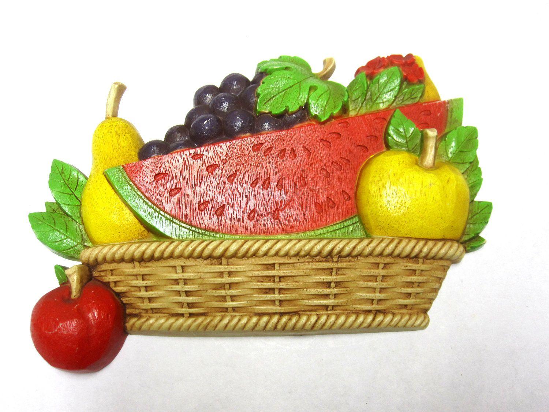 1975 Homco Fruit Basket Wicker Watermelon Pear Apple Grape Wall ...