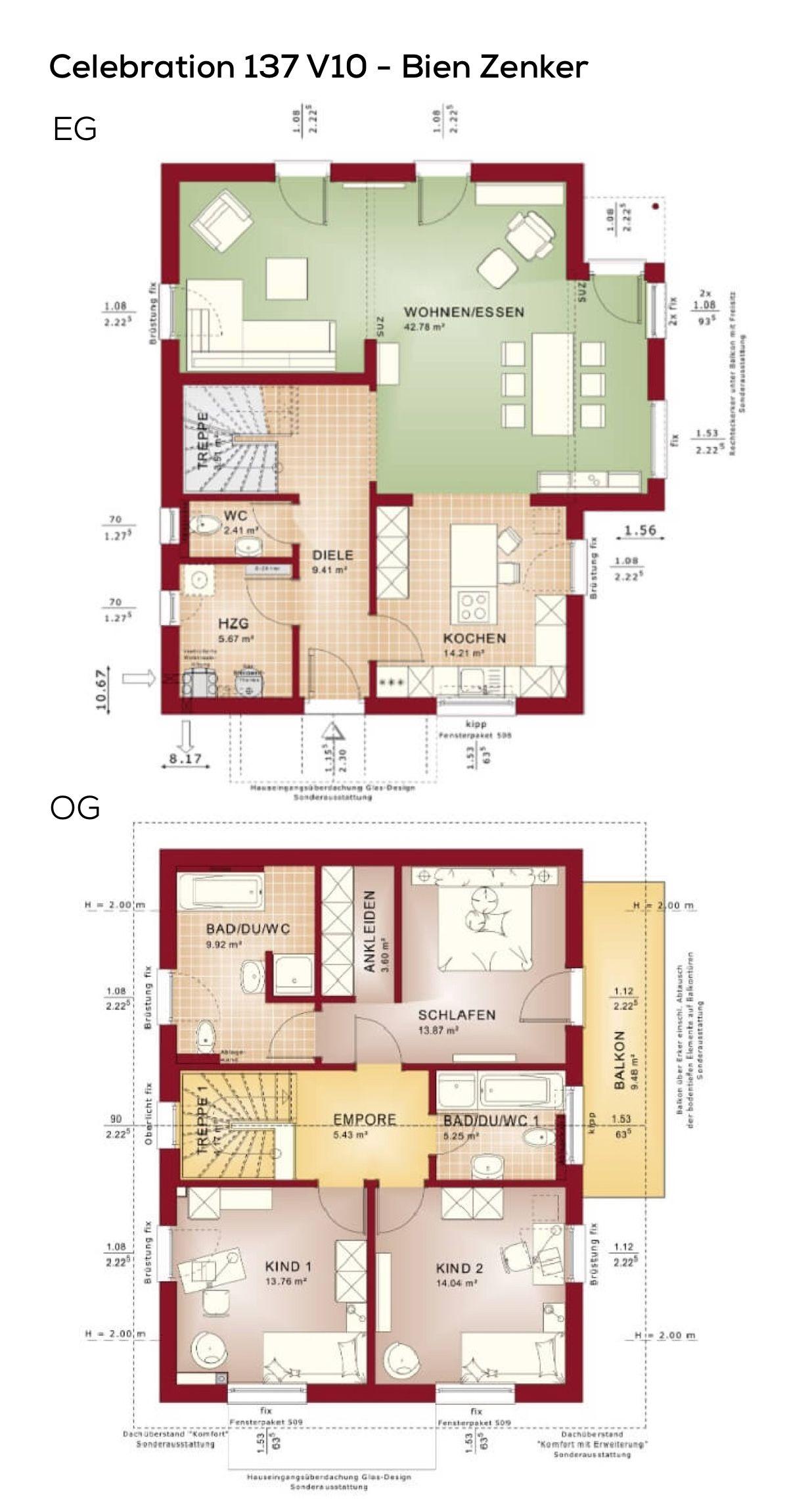Einfamilienhaus Grundriss Schmal Mit Satteldach Architektur U0026 Wintergarten  Erker   4 Zimmer, 137 Qm Wfl