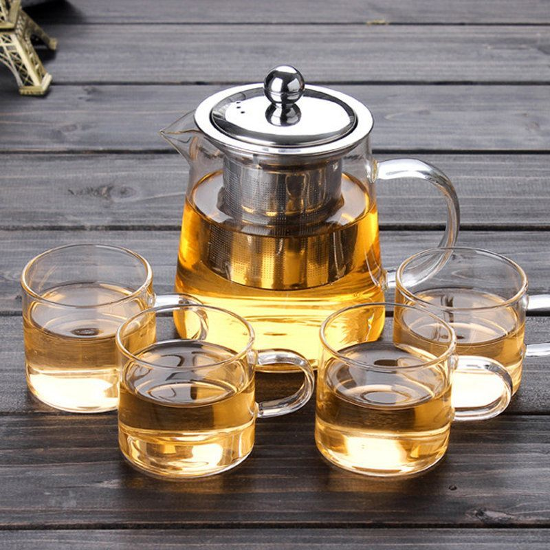 Borosilicate Glass Teapot With 304 Stainless Steel Infuser Strainer Heat Coffee Tea Pot Teapotset Borosilicate Glass Tea Set Glass Teapot Heat Resistant Glass