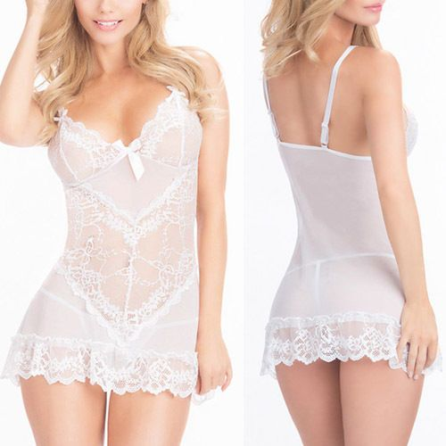 Details about White Rose Floral Lace Mini Dress Chemise ...