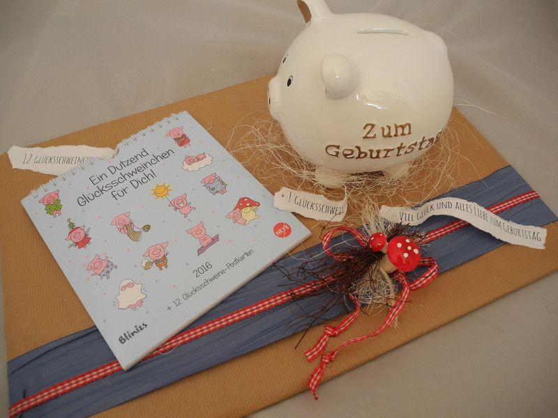 12 Glücksschweinchen + 1 Sparschweinchen  von Affelner-Geschenke-Stübchen auf DaWanda.com