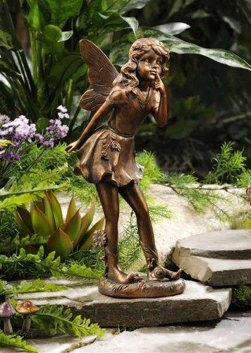 14 Standing Garden Fairy Statue Copper Look Polystone New | EBay
