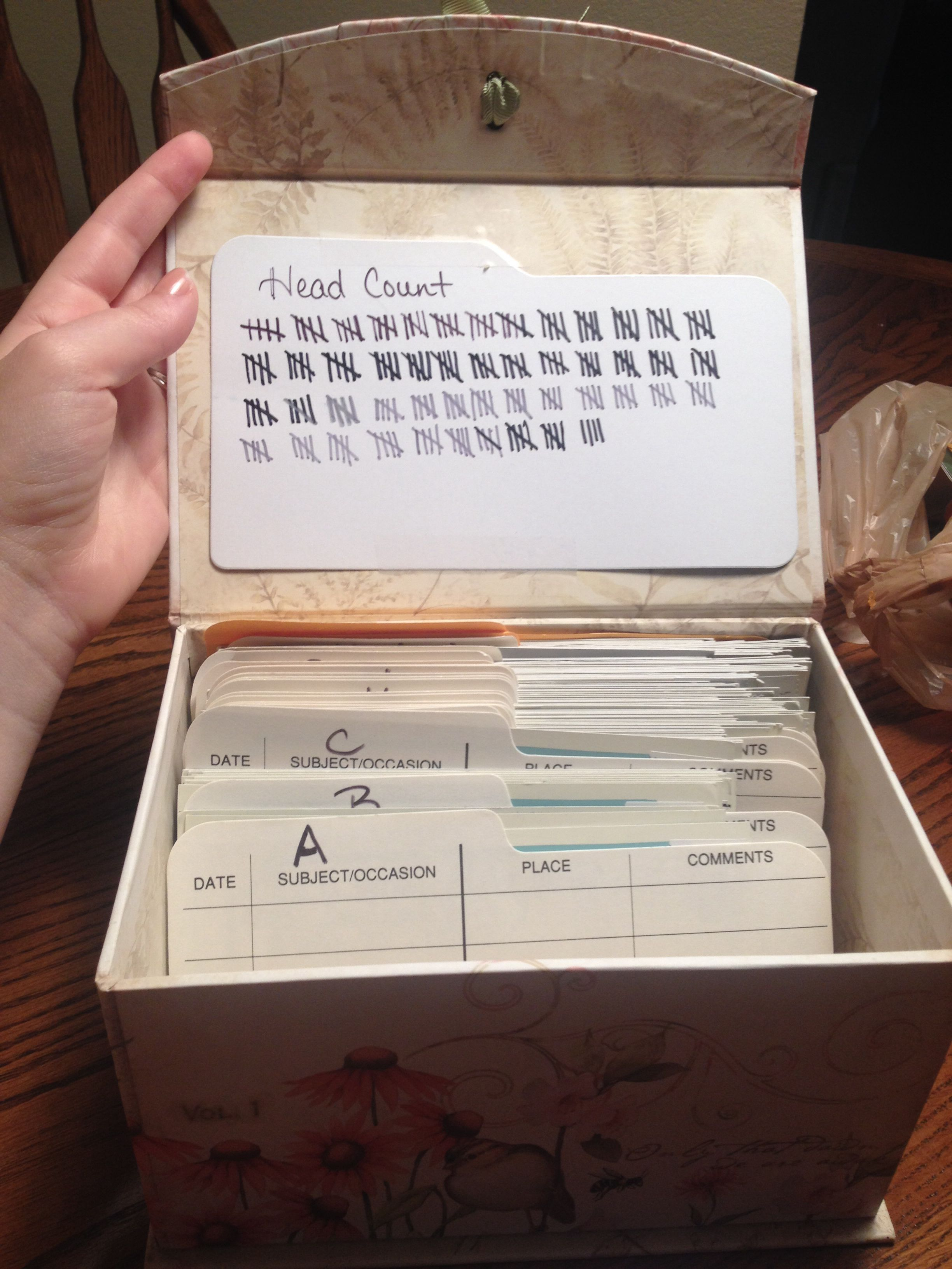 This is an RSVP box for all my RSVP cards from my wedding