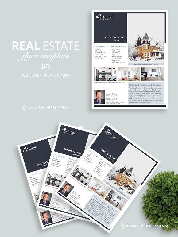 Real Estate Flyer Template No4 PowerPoint Templates PowerPoint - powerpoint brochure template