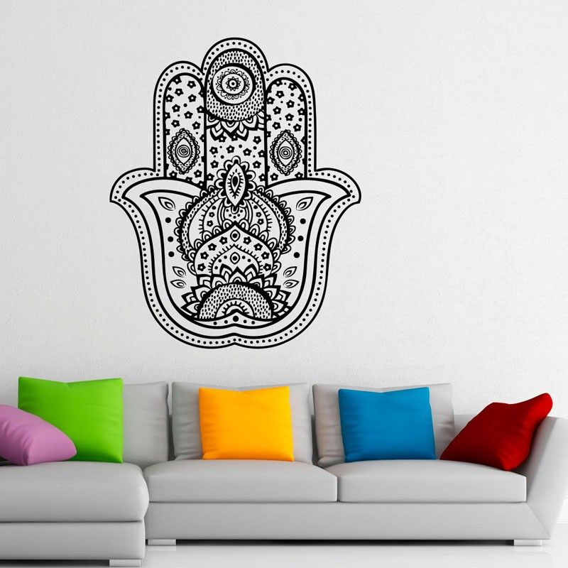 Hamsa Hand Art Wall Stickers Home Decor Indian Pattern Vinyl Sticker Wall Decals Removable Room Decorations $13.11