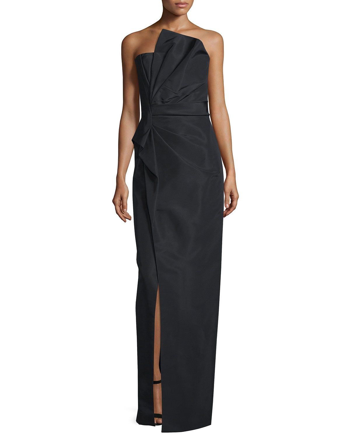 Strapless Fan-Pleated Column Gown, Noir - J. Mendel