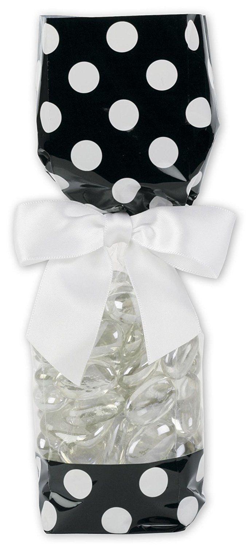 Dots Cello Bags - Black and White Cello Bags, 2 5/8 x 1 7/8 x 10 3/4 ...