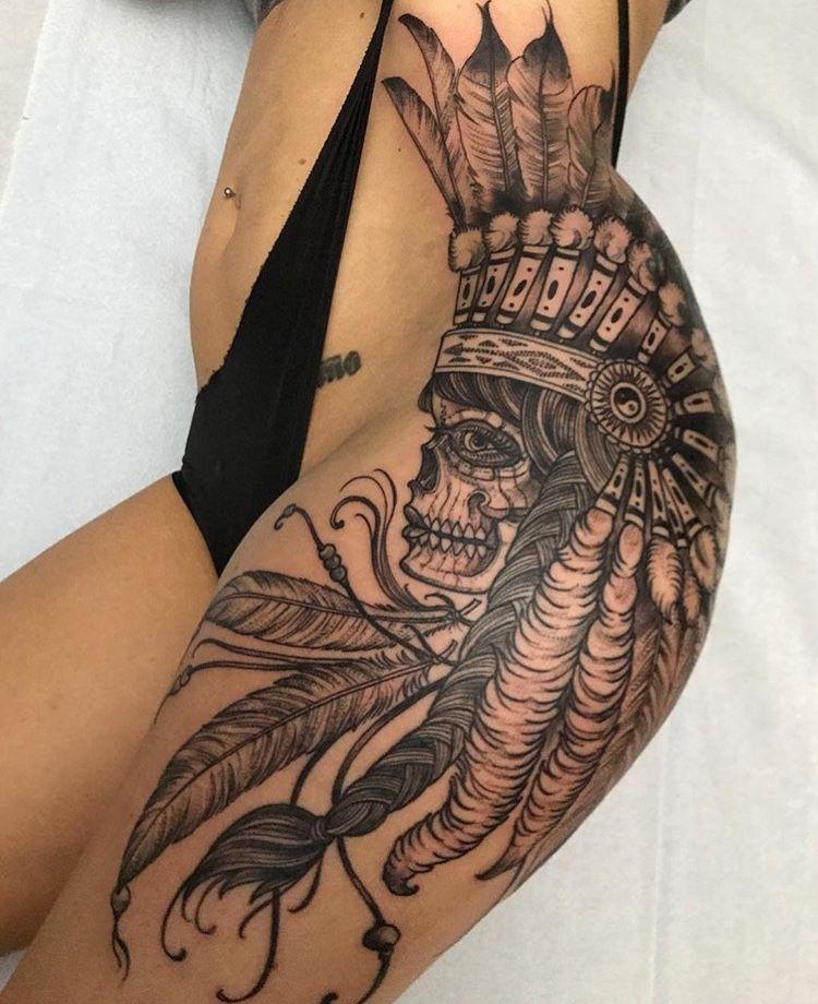 db43dba69 #Ornamental #Mandala #Tattoo #Thigh #Hip #Black #Grey #Skull #Feather # Indian