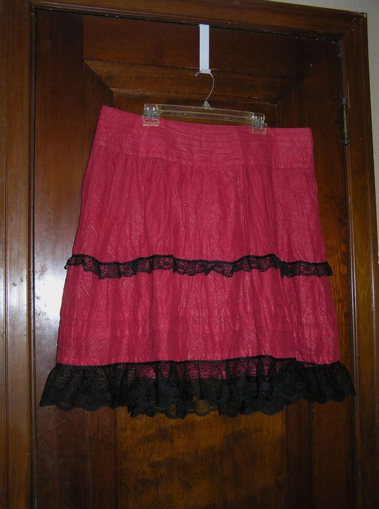 3a1b9383fe4 TORRID RED TIERED COTTON PEASANT SKIRT THICK BLACK LACE TRIM SZ 14 0417   Torrid  Peasant