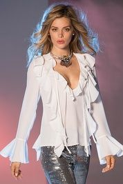 Double ruffle front blouse