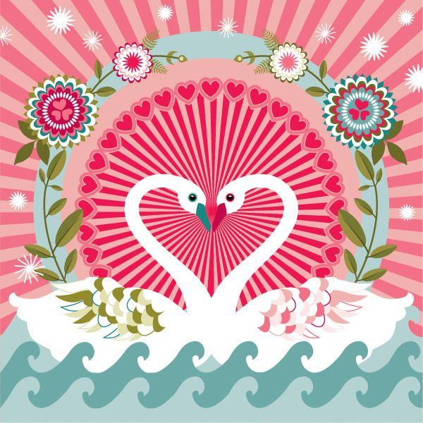 valentine vector design swans flowers hearts wavelets - Valentines Designs