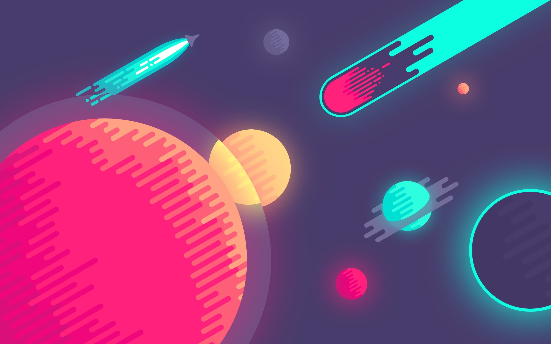 Planets And Rockets Wallpaper Vector Planet Abduzeedo 8 Bit Space Artwork Digital Art Comet Colorful Spaceship Minimalism Space Art Comic Art Rocket
