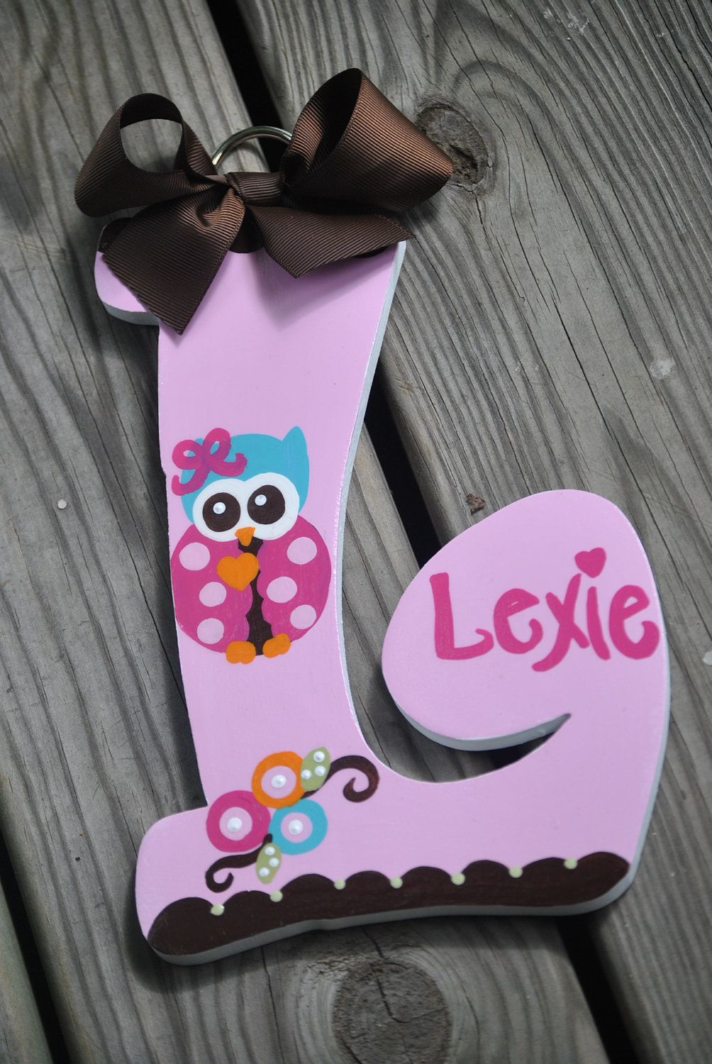 LEYAH OWL Handpainted Letter set by TheJellyBeanJunction on Etsy, $11.99