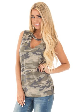 7aa91629 Olive Camo Cut Off Tank with Cut Out V Neckline front close up ...
