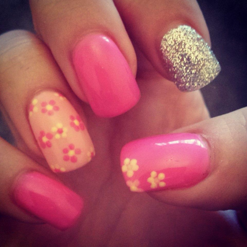 Spring pink glitter silver flowers lcn gel nail design | Nails ...