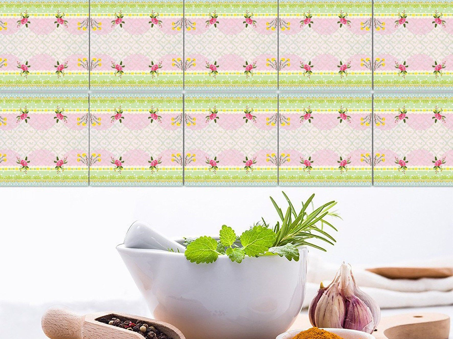 Pink Tile Stickers Removable Kitchen