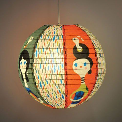 Little visitor decorative hanging paper lantern with light for Recycled paper lantern