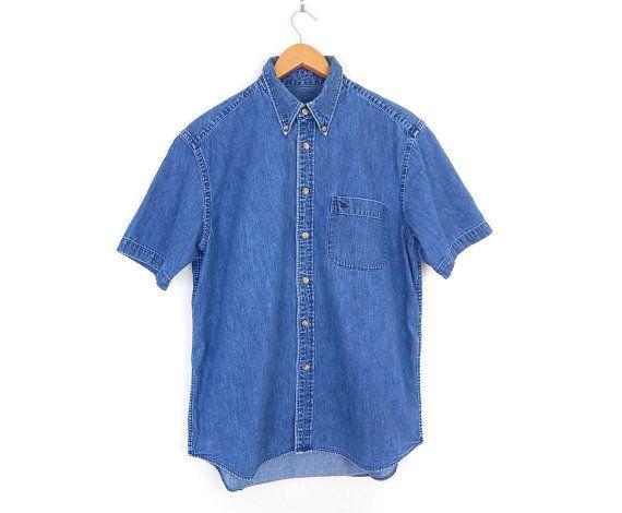 """90s Vintage Oversize Denim Oxford Shirt - Men's Medium Eddie Bauer Button Down Short Sleeve Shirt - 48"""" Chest"""