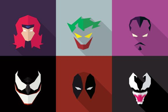 SuperHeroes Masks Flat (Set 07) by LogoCreator on @creativework247