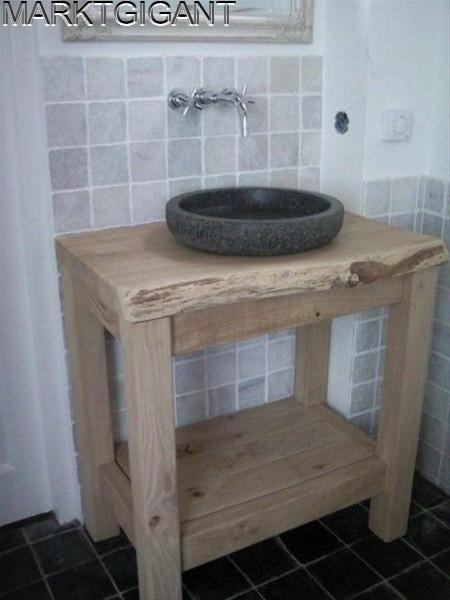 Eikenhouten meubel natuursteen waskom wasbak  Badkamer  Pinterest  Toilet, # Wasbak Toilet_215206