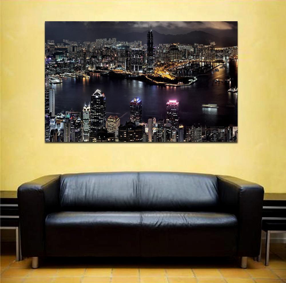 canik180 Canvas Print Stretched China Hong Kong panorama night 26x43 ...