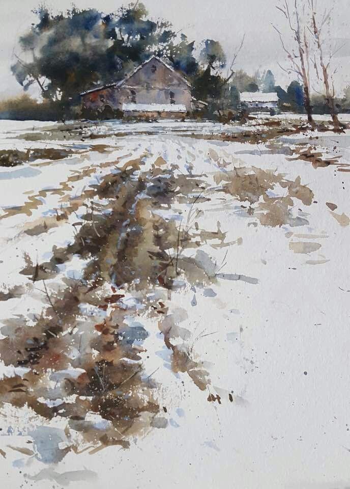 Eric Michaels Watercolor Landscape Paintings Winter Landscape Painting Art Painting