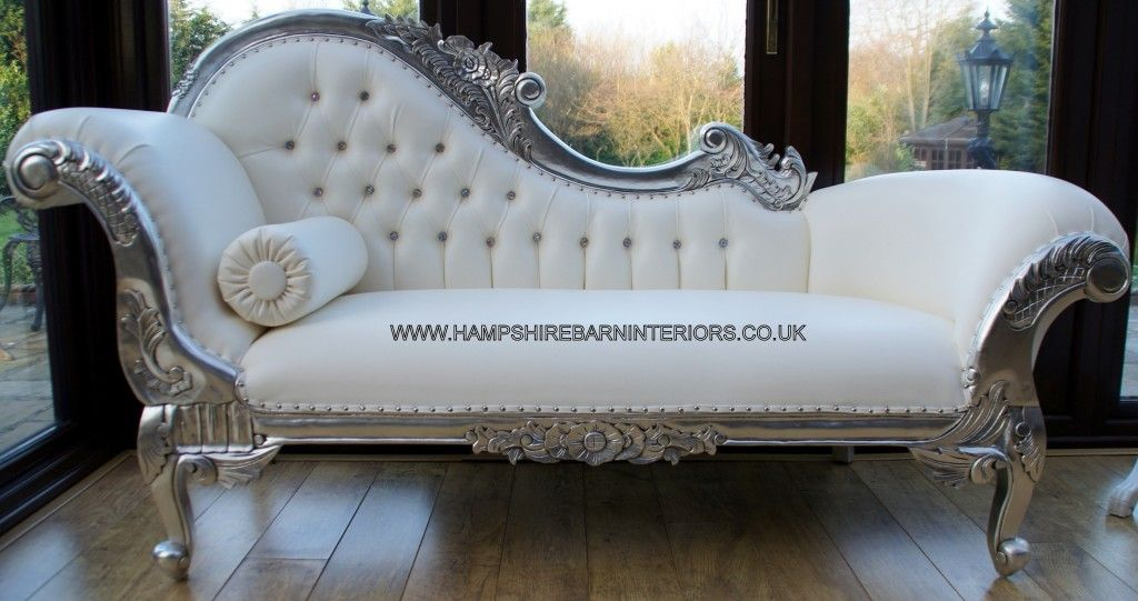 left-handed-silver-ornate-chaise-white-faux-leather-crystal-buttons ...