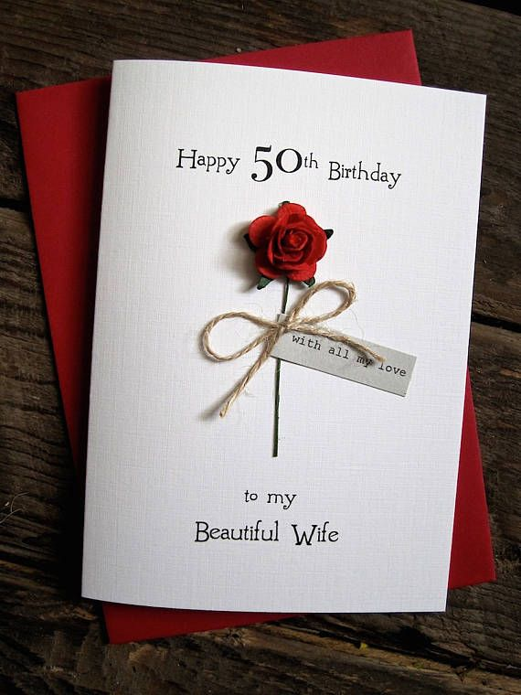 40th Birthday Card For Wife Red Rose Love Personalised Gift 40 Size A6 Romantic 50th Birthday Cards Birthday Cards Husband Birthday Card