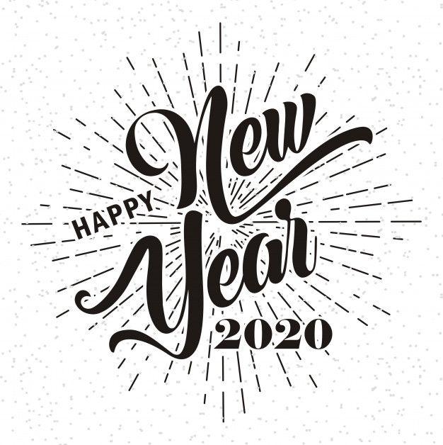 Happy New Year 2020 On Sunburst Background