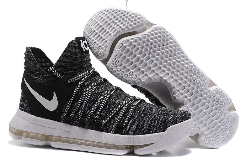 2017 Nike Zoom KD 10 Oreo Black White basketball shoes