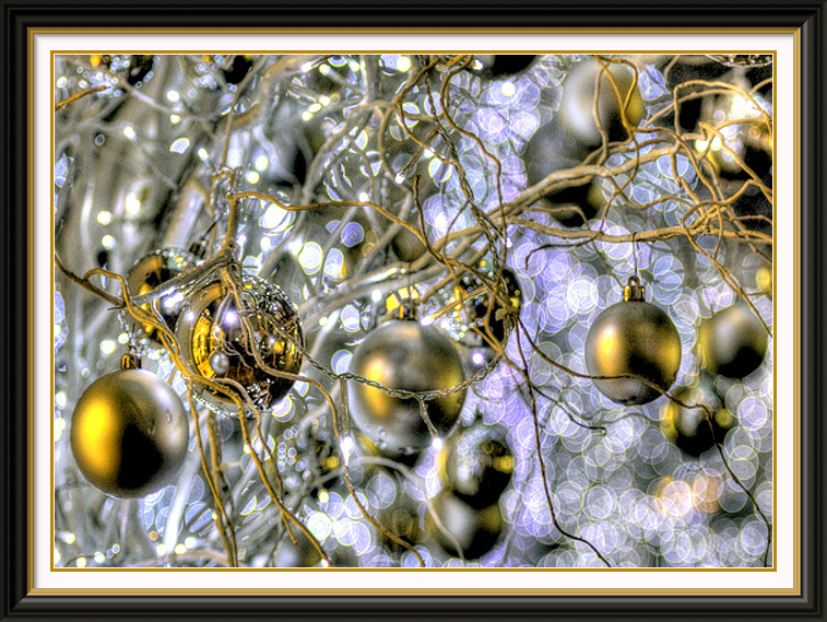 ornaments in a tree outside