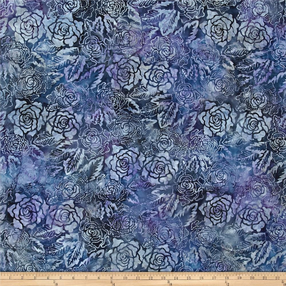 Garden Oasis Bali Batik Tropical Rose Violet/Blue from @fabricdotcom  From Benartex, this Indonesian batik is perfect for quilting, craft projects, apparel and home décor accents. Colors include shades of purple, grey, blue and black.