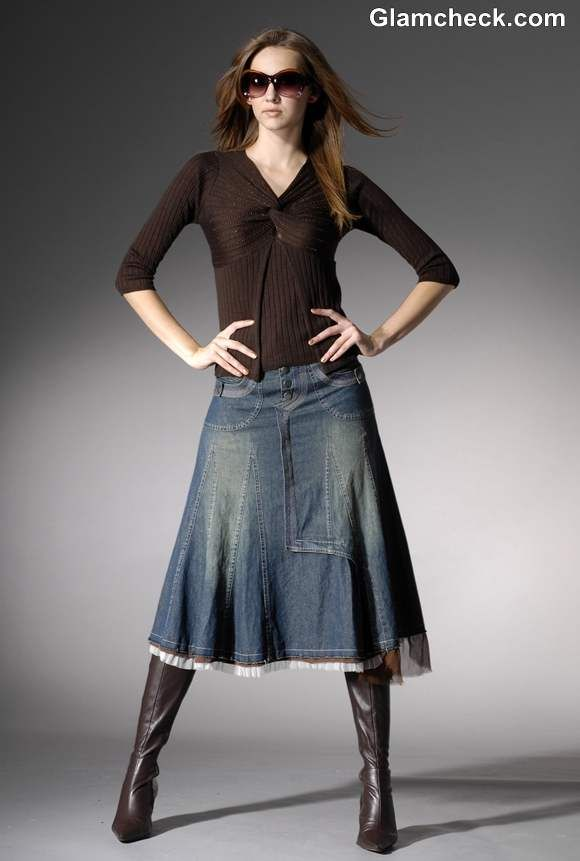 3c9fd6a778 Winter Fashion How to Style a Long Denim Skirt for Winters