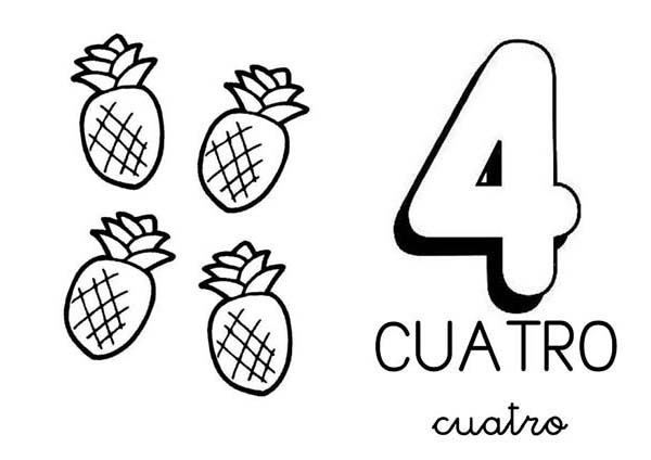 Learn Number 4 With Four Pineapples Coloring Page Bulk Color Coloring Pages Coloring Pages For Kids Color