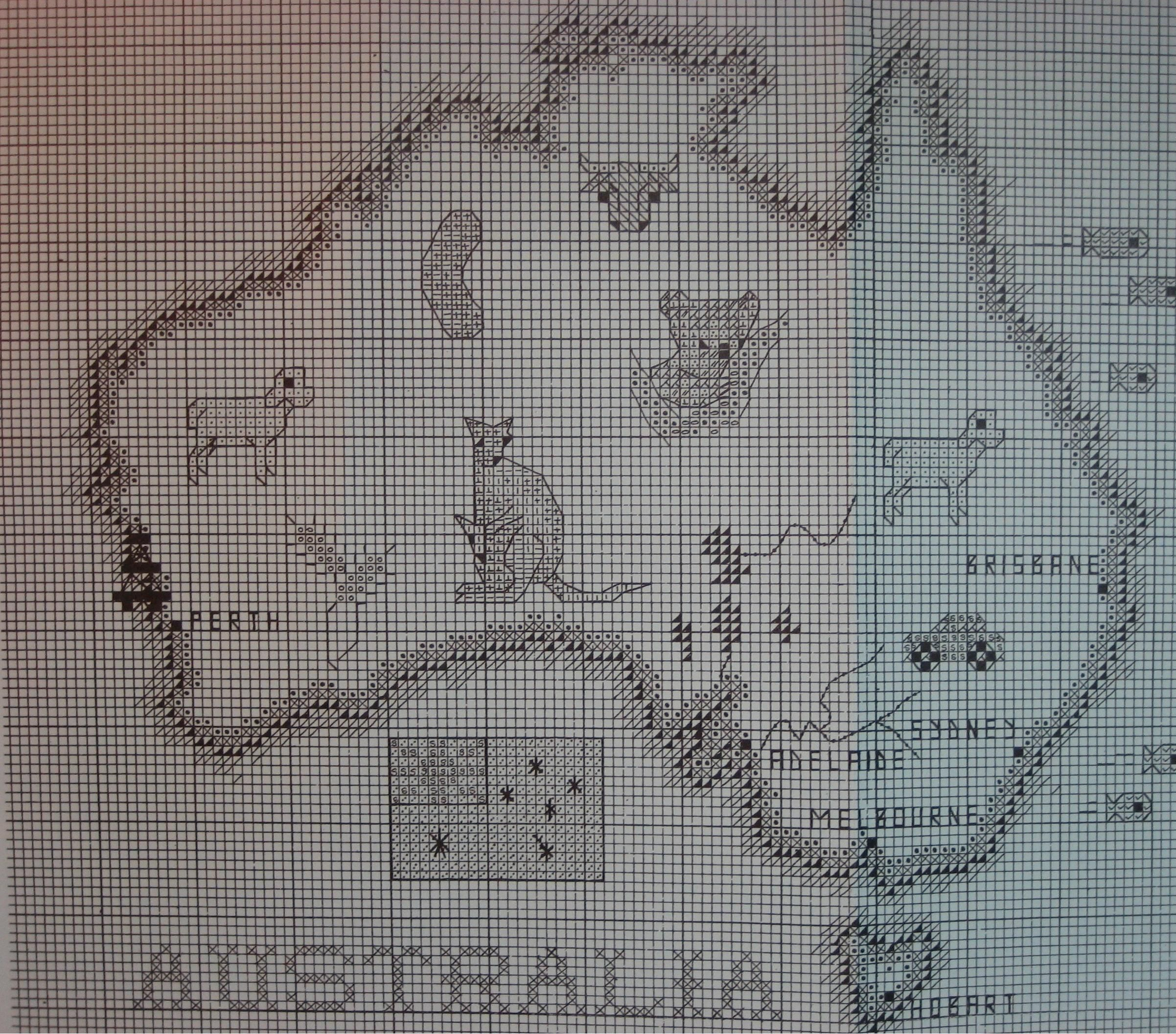 australian maps on counted cross stitch Australia Map 1
