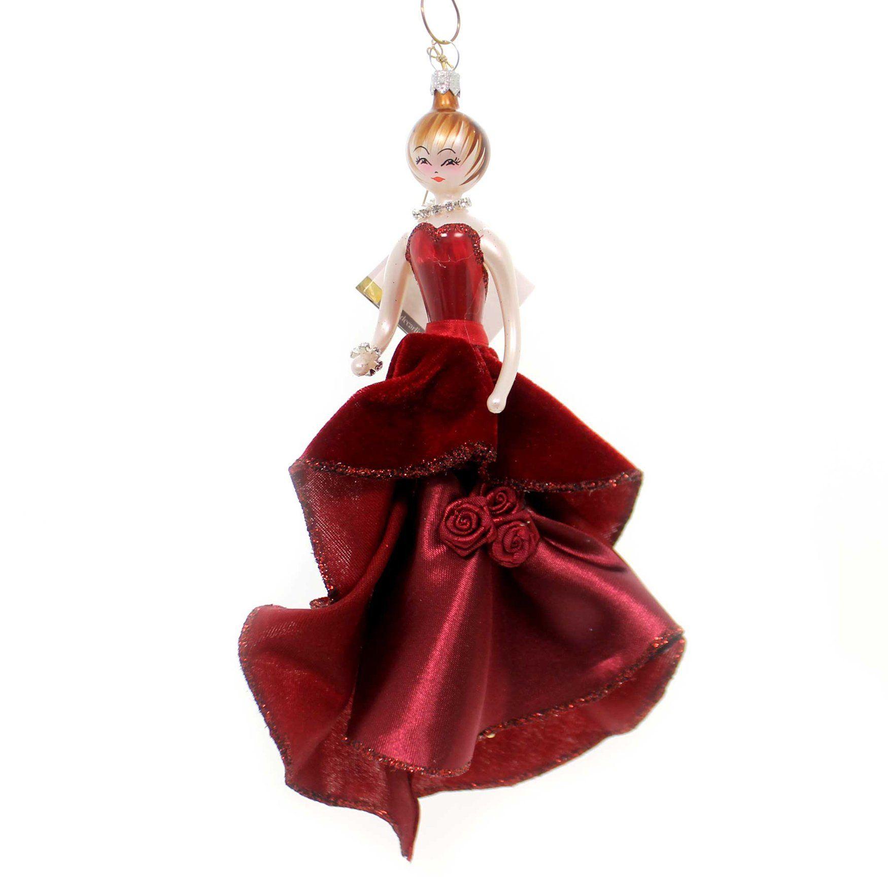 De Carlini Lady In Burgundy Evening Gown Italian Christmas Ornament