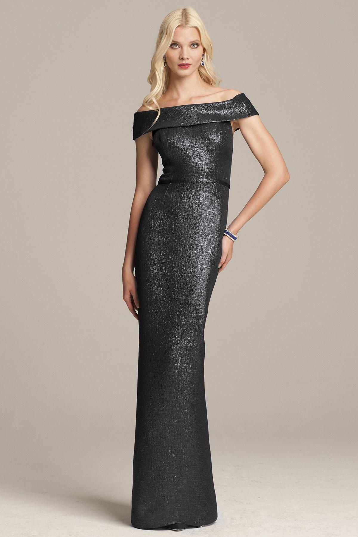 Slate Portrait Collar Gown   Teri Jon   My Style   Pinterest   Slate ...
