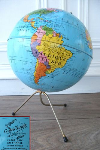 Ancien Grand Globe Terrestre Mappemonde Cartes Taride Paris