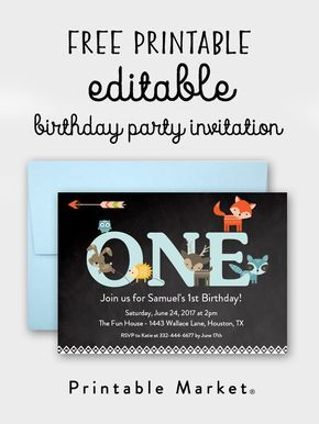 Free First Birthday Printable Editable Woodland Fox Invitation Market