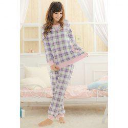 $12.67 Comfortable Long Sleeved Checked Pajamas Sleepwear For Women