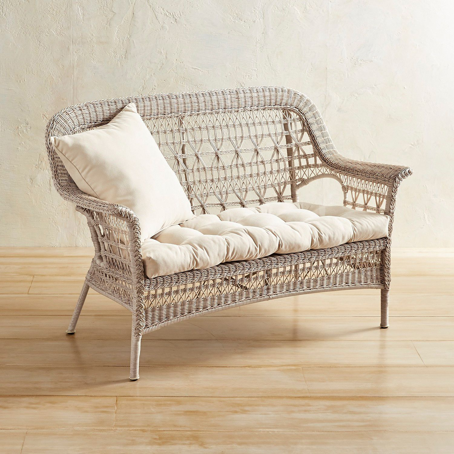 Layla Parchment Settee Pier 1 Imports Outdoor In 2019 Settee