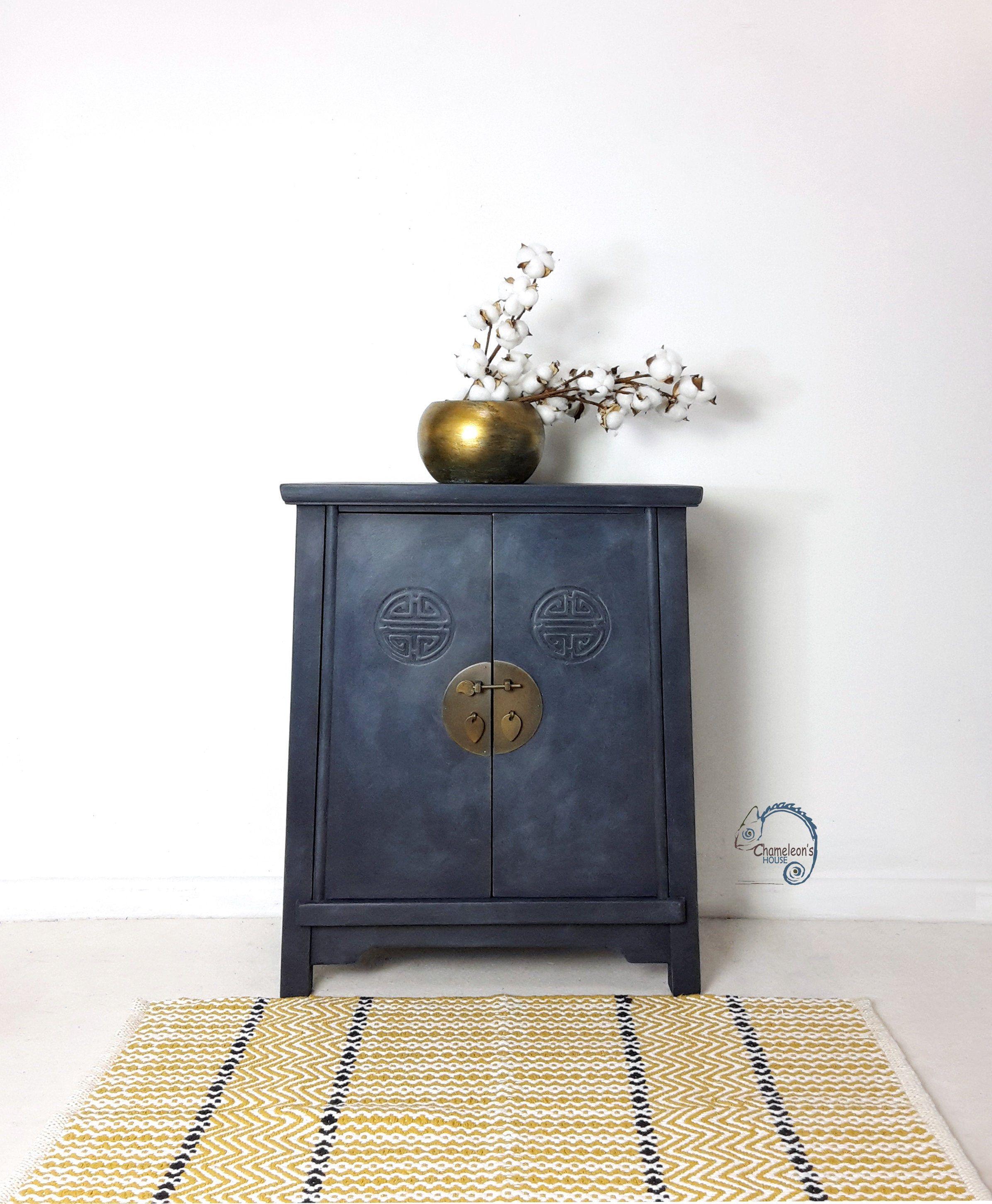 Navy Blue Chinese Vintage Cabinet. Bedside Cabinet ...