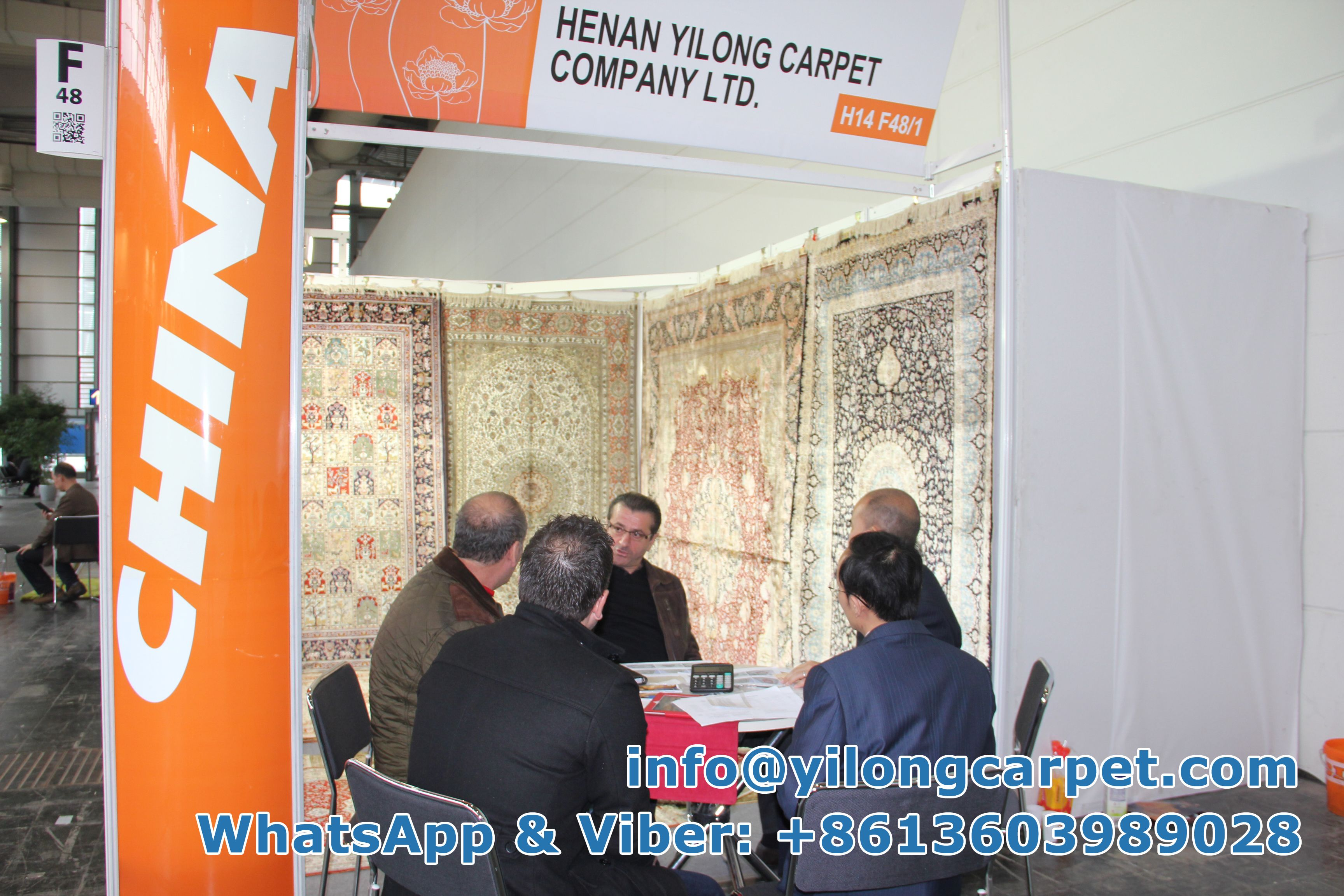 In the year of 2014, Three customers from USA were sitting around the table at our Domotex Booth with Mr. Leevery Han and Mr. Zhang to make a discussion on our products. Yilong Carpet including Persian Rug; Oriental Rug; Turkish Rug; Antique Rug,Anbusson, Bijar Rug, Chinese Rug, Eilan Rug, Hand Knotted Rug, Handmade rug, Isfahan Rug, Kashan Rug, Kashmir Rug, Kerman Rug, Nain Rug, Qum Rug, Sarouk Rug, Silk Rug, Tabriz Rug, Vintage Rug