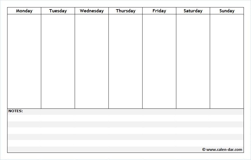 Free Printable Weekly Schedule Planner with Notes Weekly - free week calendar template