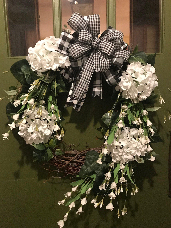 Beautiful farmhouse hydrangea grapevine wreath for door
