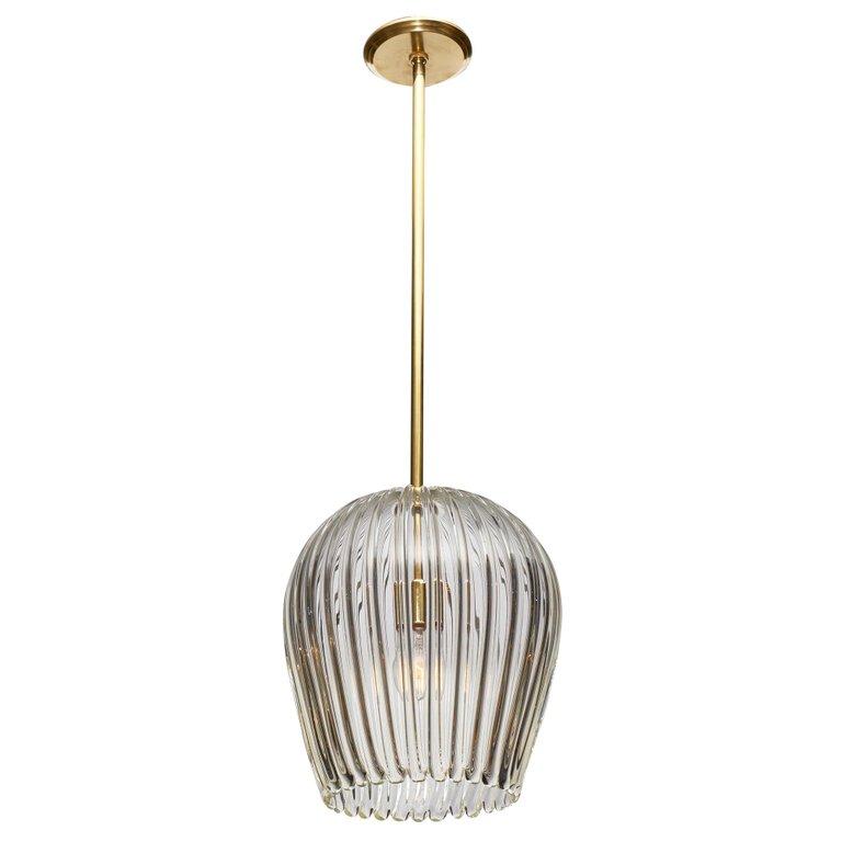 1stdibs Murano Glass Bell Shaped Brass Italian Chandelier