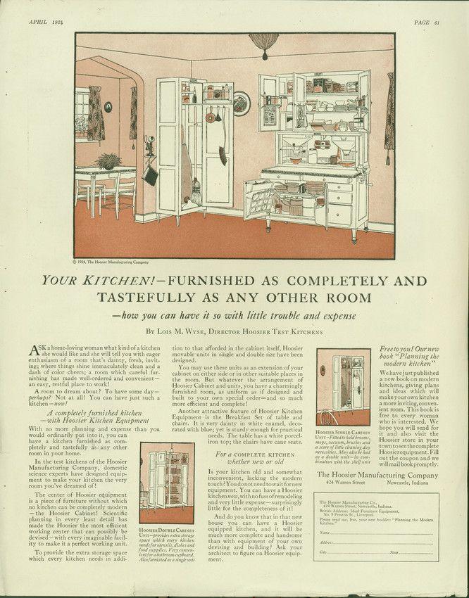 Advertisement For Hoosier Kitchen Cabinets Hoosier Manufacturing Company 424 Warren Street Newcastle Indi Kitchen Display Kitchen Cabinets Hoosier Cabinets