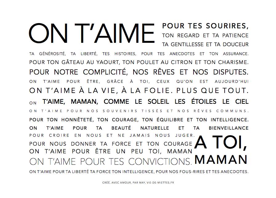 Affiche Texte Maman A Offrir Papier Idees Texte Pour Maman