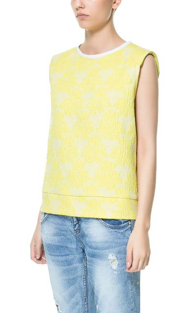 FLOWER JACQUARD TOP - Shirts - TRF - ZARA United Kingdom