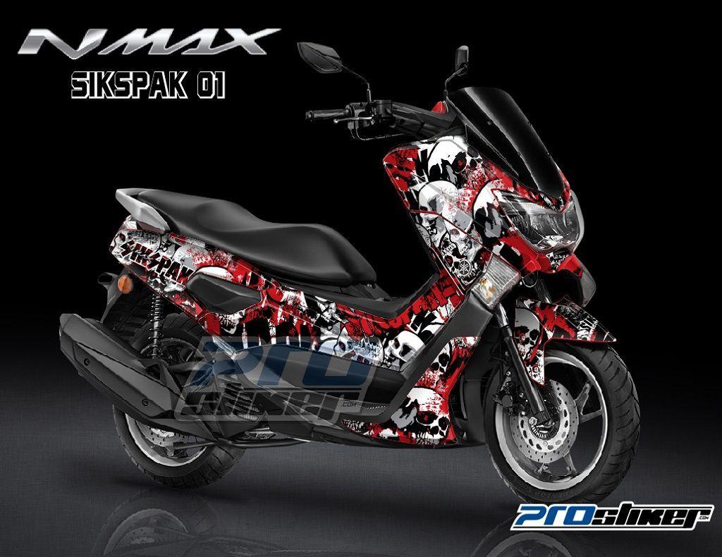 Stiker motor yamaha nmax warna merah desain grafity sikspak 01 tengkorak modif prostiker full body